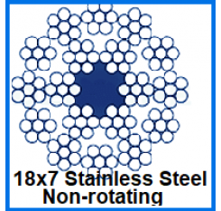 6mm 18x7 Non-Rotating Stainless Steel Wire Rope (1m Length)