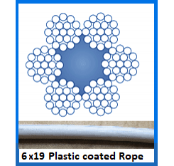 10mm 6×19 Plastic Coated Wire Rope (1m Length)