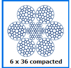 10mm 6×36 Compacted Wire Rope (1m Length)