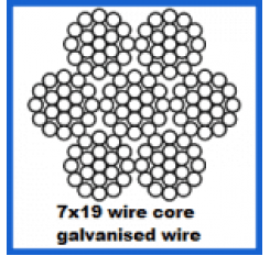 2mm 7x19 Galvanised Wire Rope - Wire Core