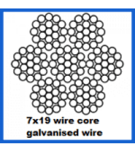 12mm 7x19 Galvanised Wire Rope - Wire Core