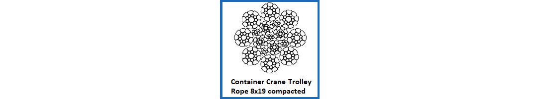 8x19 Compacted Container Crane Trolley Rope