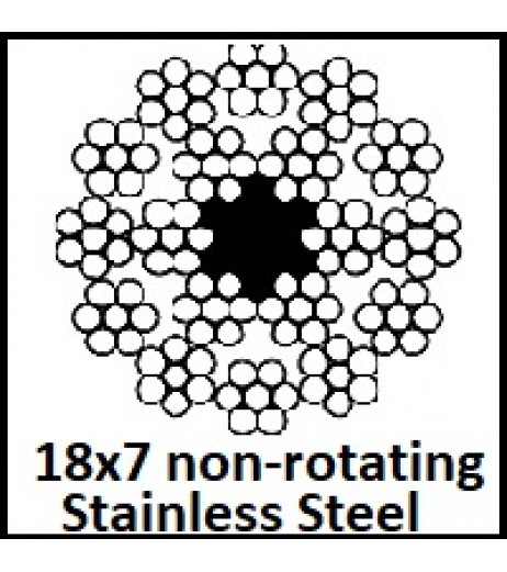 9mm 18x7 Non-Rotating Stainless Steel Wire Rope (1m Length)