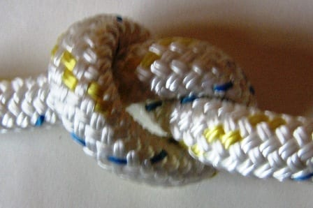 braid on braid polyester rope knot white-yellow