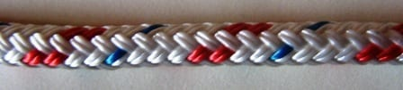 braid on braid polyester rope sample white-red