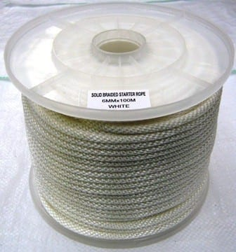 solid braided rope white polyester coil