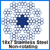 18x7 stainless steel non-rotating wire rope