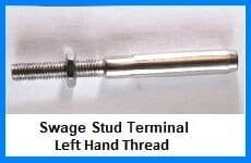 swage stud terminal left hand thread