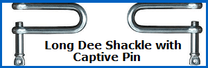 long dee shackle with captive pin