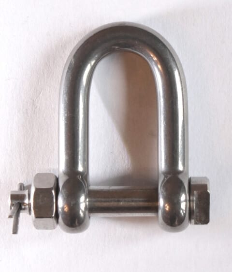 stainless steel dee shackle - safety bolt