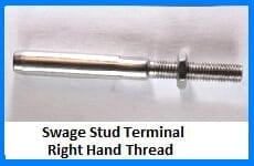 swage stud terminal right hand thread