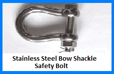 stainless steel bow shackle safety bolt