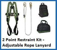 2 point restraint harness kit (adjustable rope lanyard)