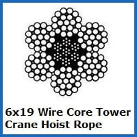 6x19 wire core tower crane rope